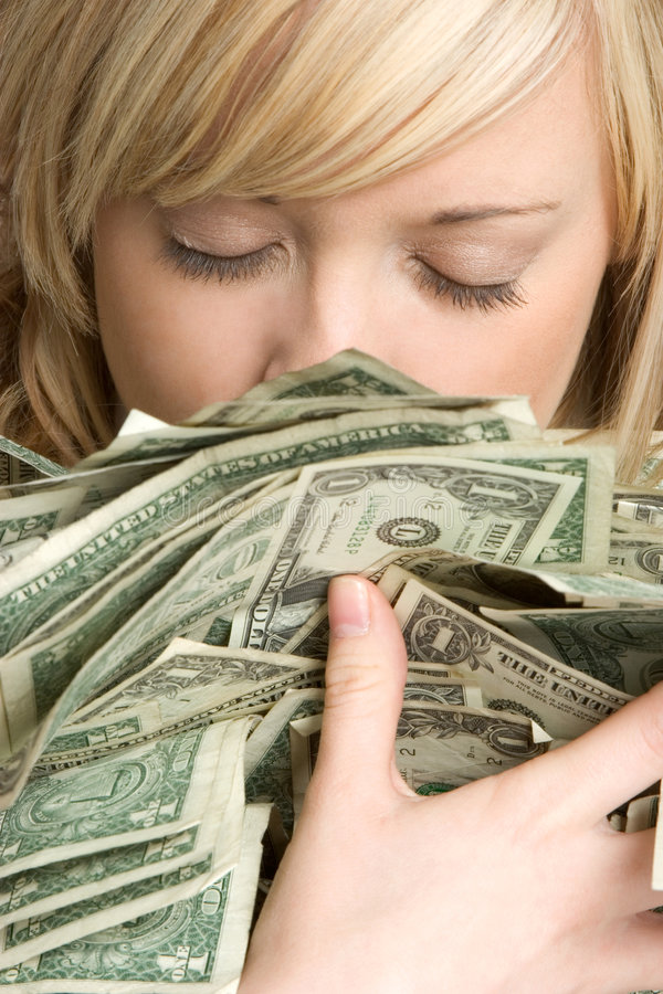 Woman Holding Money stock photos