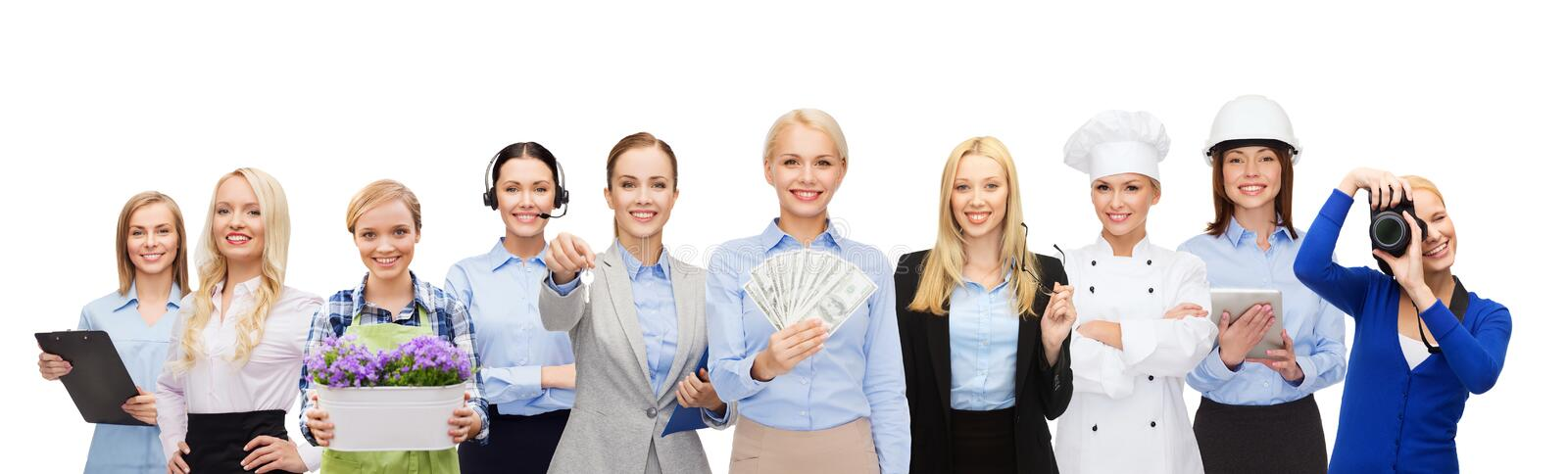 Woman holding money over professional workers stock photo