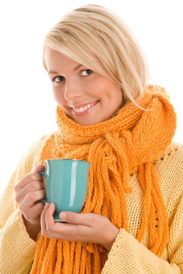 Woman holding mug stock image