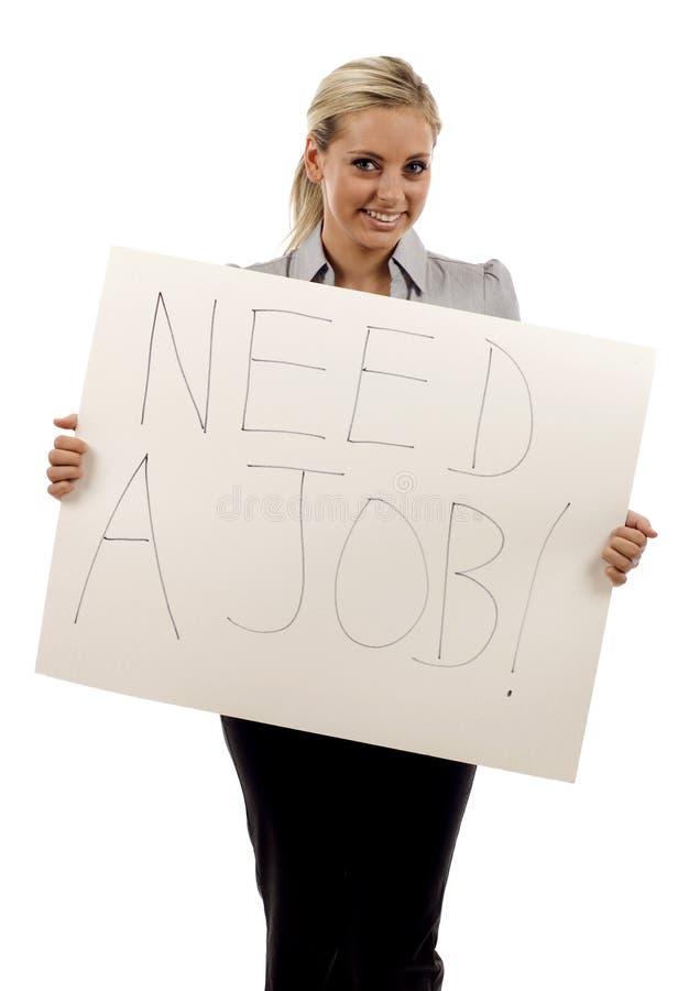 Woman Holding A Need A Job Sign Stock Photos