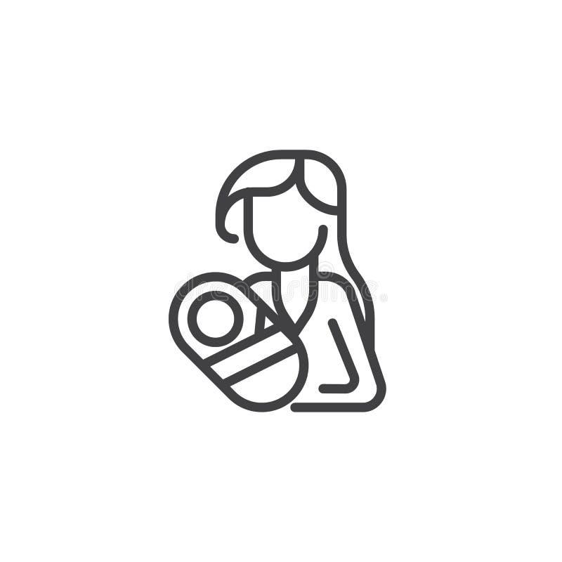 Woman holding newborn baby line icon stock illustration