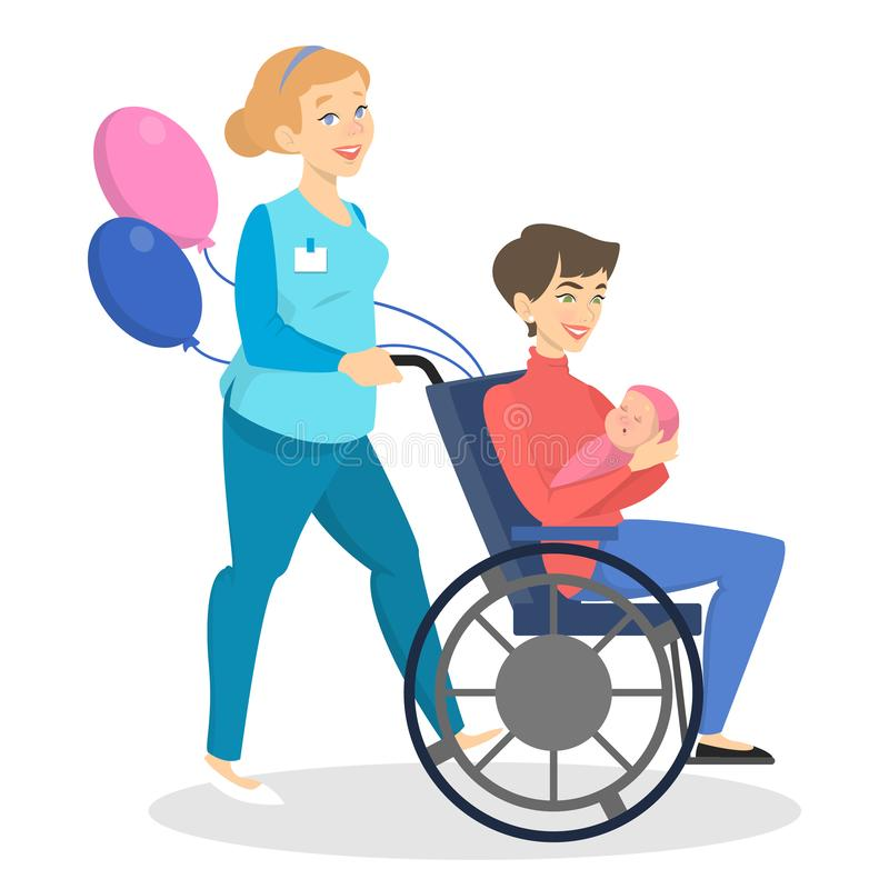 Woman holding newborn baby and sitting in wheel chair vector illustration