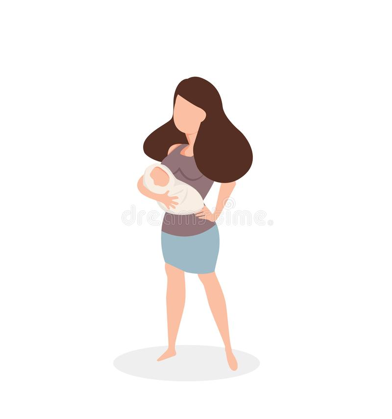Woman holding a newborn baby. Vector illustration, Flat and minimal vector eps file With Copy Space stock illustration
