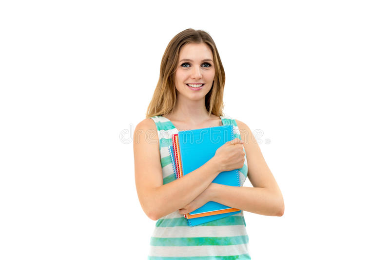 Download Woman holding notebooks stock image. Image of learning - 27145437