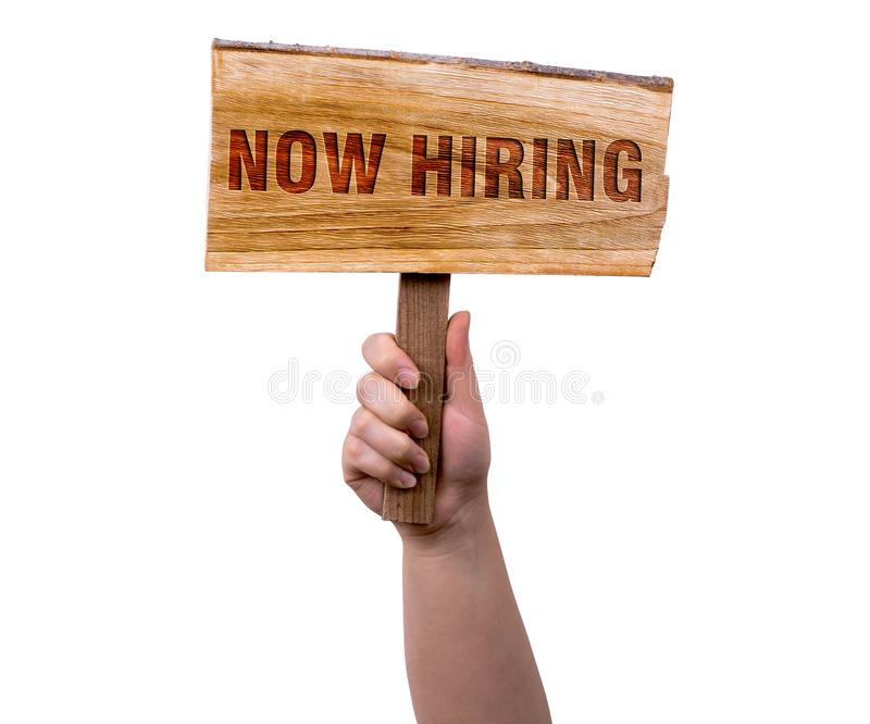 Now hiring wooden sign stock photo