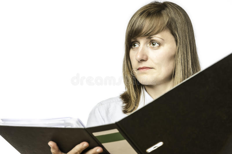 Woman Holding Open File Folder Stock Photo
