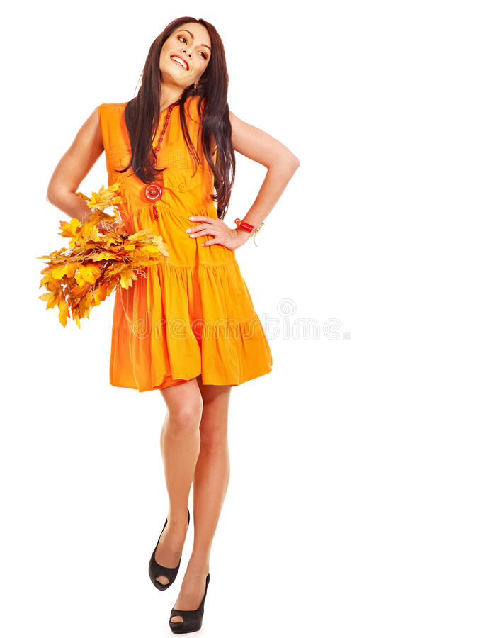 Download Woman Holding Orange Leaves. Stock Image - Image of color, long: 26671495