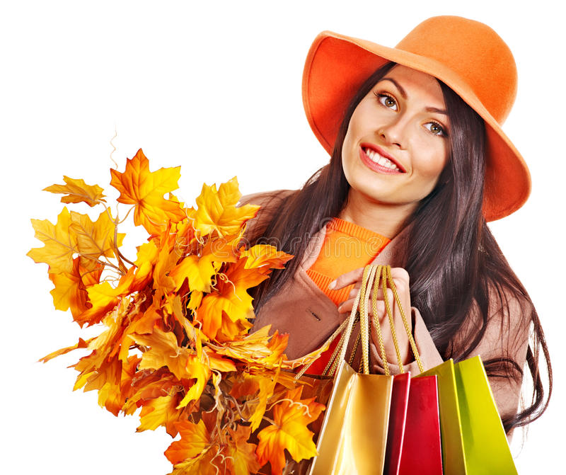 Download Woman Holding  Orange Leaves. Stock Images - Image: 26671544