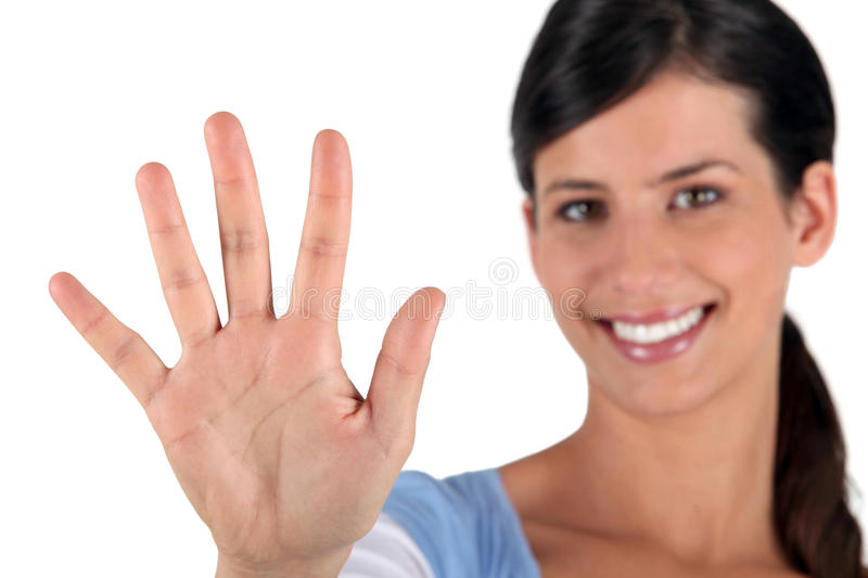 Download Woman holding out hand stock image. Image of refusal - 23492549