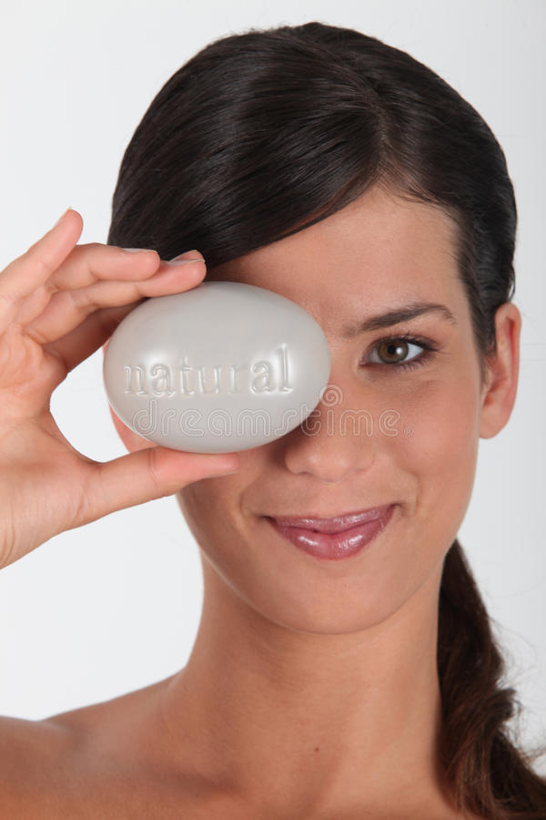 Woman Holding Pebble Royalty Free Stock Image