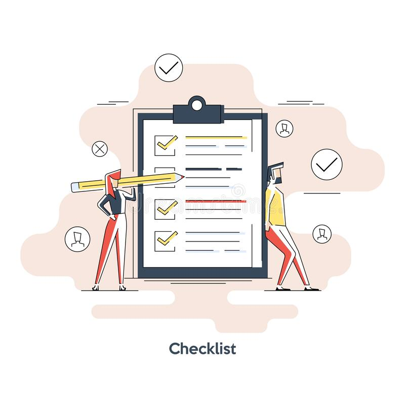 Woman holding a pencil completing checklist on clipboard. Business concept. Clipboard with checklist icon. Illustration of stock illustration