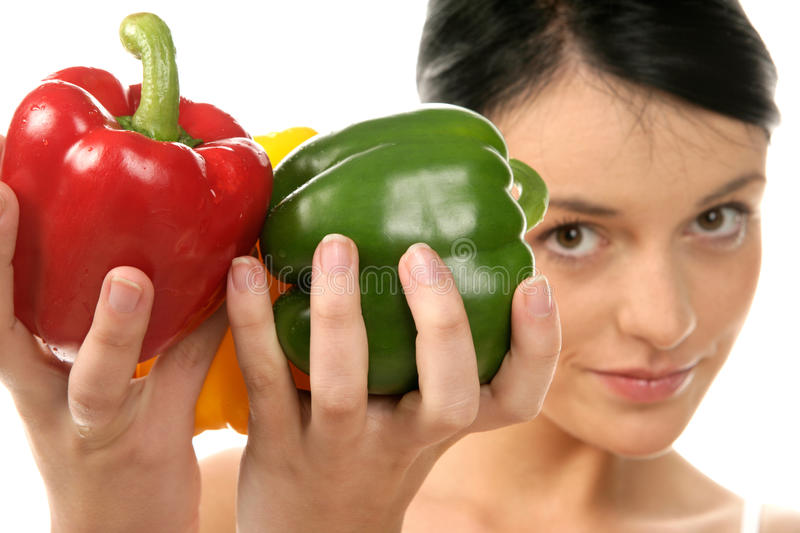 Download Woman holding peppers stock photo. Image of gladness - 11298880