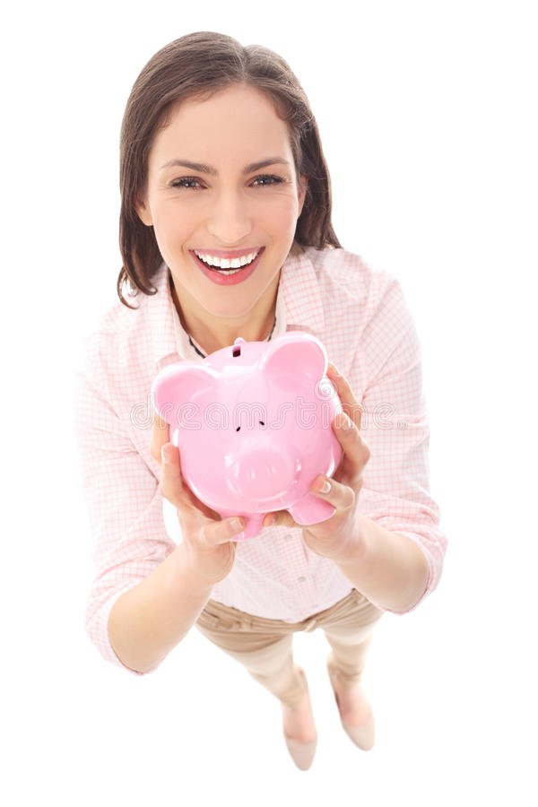 Download Woman holding piggy bank stock image. Image of adult - 28575703
