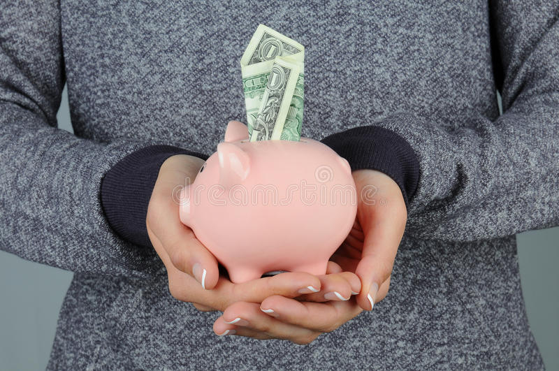 Download Woman Holding Piggy Bank With Dollar Stock Photo - Image: 22753900