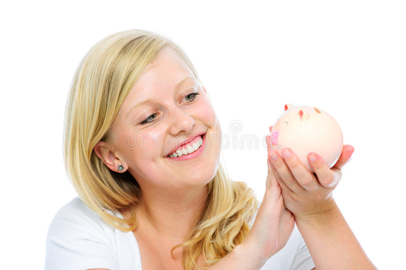 Woman Holding Piggy Bank Stock Photography