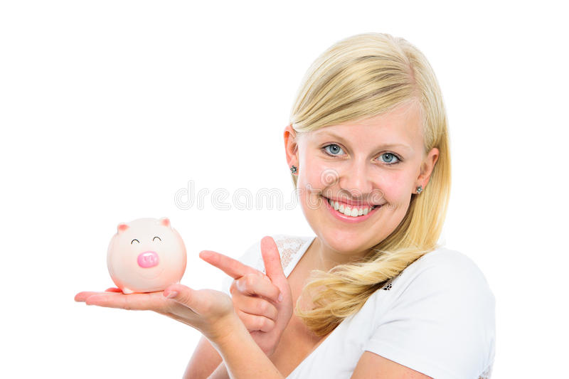 Download Woman holding piggy bank stock image. Image of budget - 34809427
