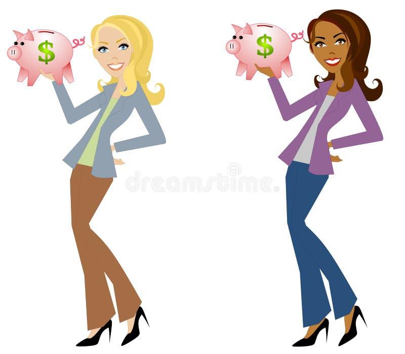 Woman Holding Piggy Banks vector illustration