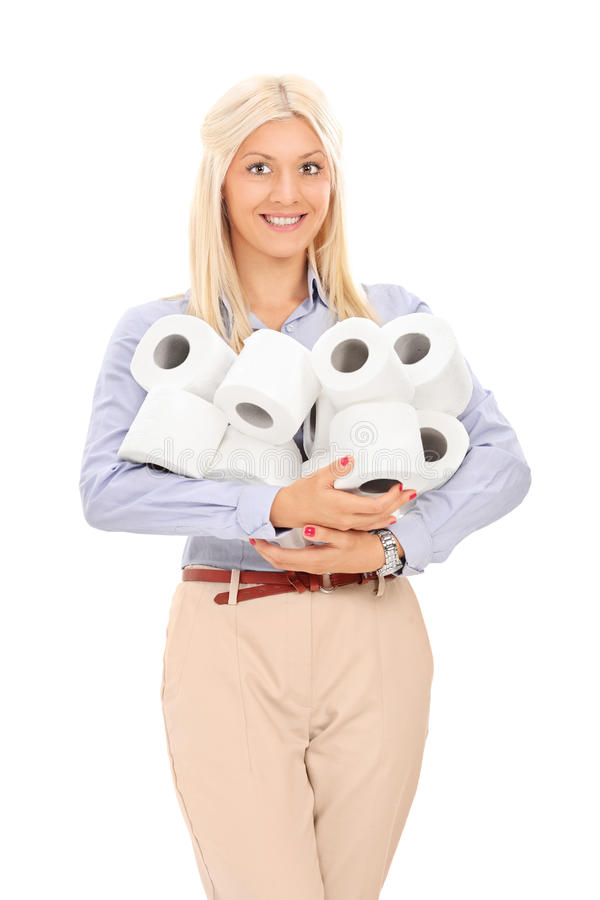 Woman holding a pile of toilet paper rolls stock photo image of download woman holding a pile of toilet paper rolls stock photo image of cheerful publicscrutiny Images