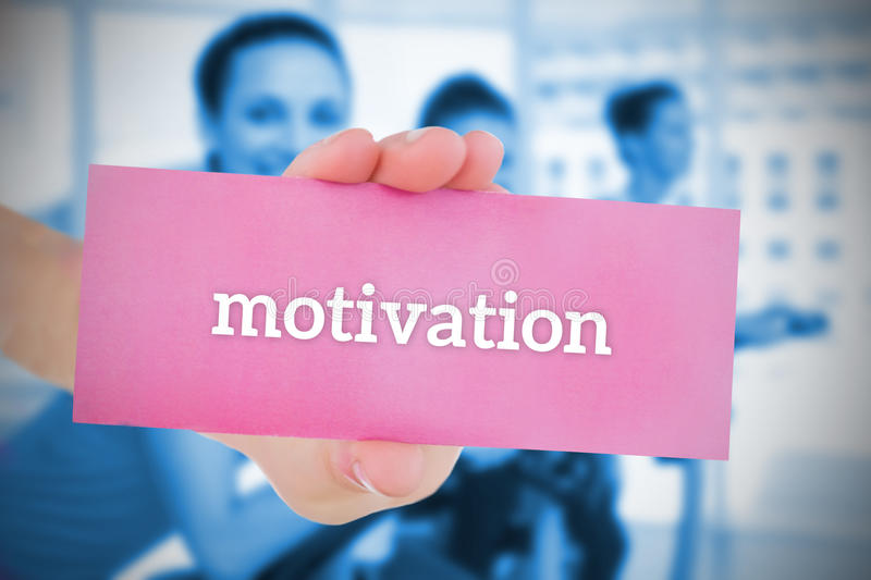 Download Woman Holding Pink Card Saying Motivation Stock Image - Image: 39438313