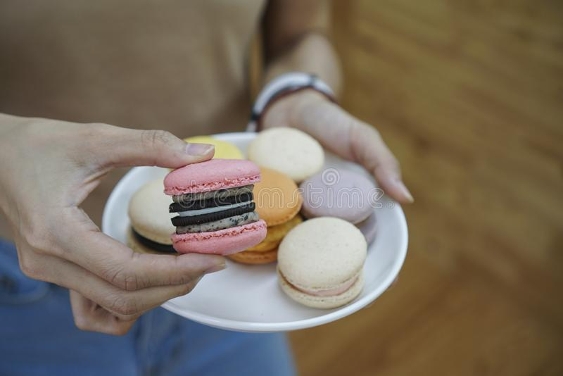 A pink macaron with Cookie and cream flavor. royalty free stock photos