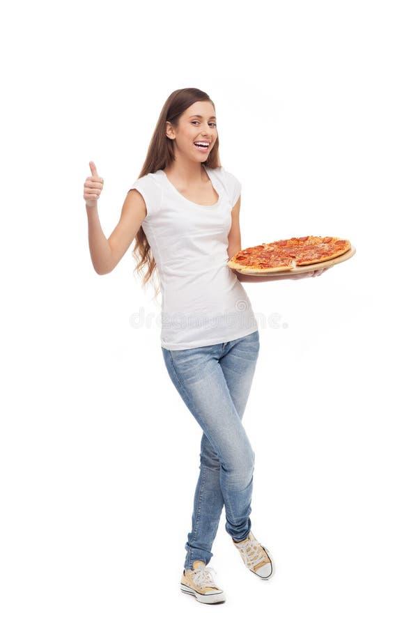 Woman Holding Pizza Stock Photos