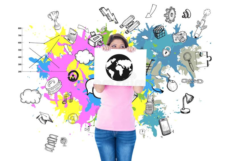 Woman holding a placard with globe drawing against graphic interface background stock photos