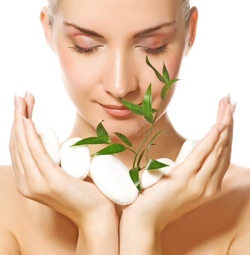 Download Woman holding plant stock photo. Image of human, beauty - 5142176