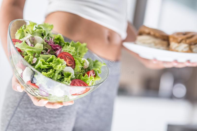Woman holding plate with high-calorie cakes and salad. The sport figure of a attractive woman holding plate with high-calorie cakes and fresh vegetable salad royalty free stock image