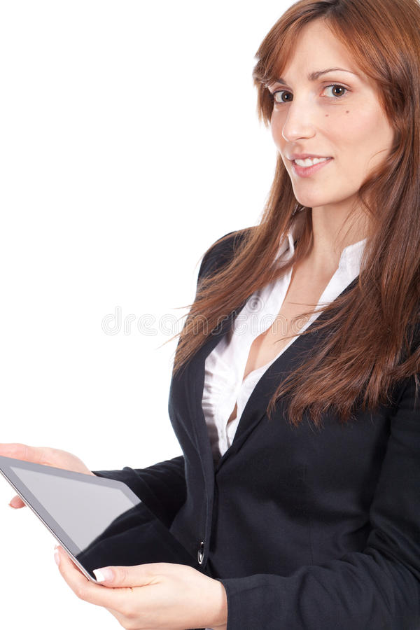 Download Woman Holding A Portable Computer And Smiling Stock Image - Image: 25616805