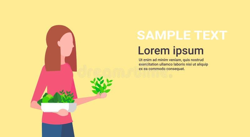 Woman holding potted plants girl gardener planting vegetables gardening concept female cartoon character portrait flat vector illustration