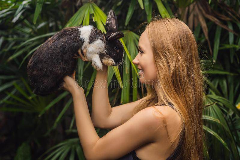 Woman holding a rabbit. Cosmetics test on rabbit animal. Cruelty free and stop animal abuse concept stock image