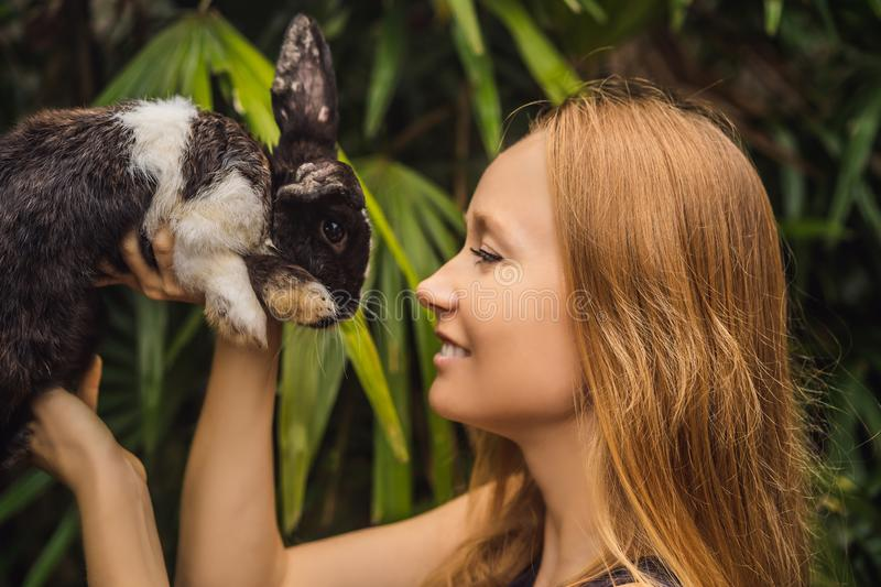 Woman holding a rabbit. Cosmetics test on rabbit animal. Cruelty free and stop animal abuse concept.  stock images