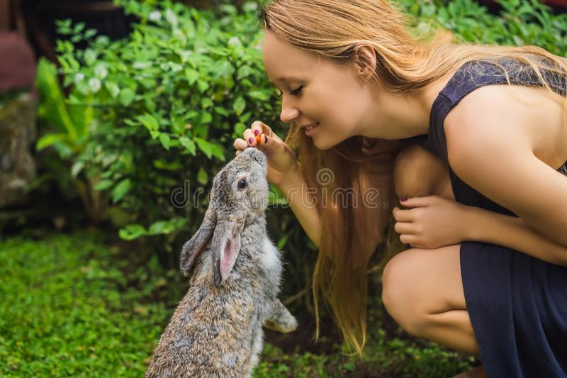 Woman holding a rabbit. Cosmetics test on rabbit animal. Cruelty free and stop animal abuse concept.  royalty free stock image