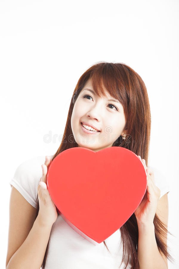 Download Woman Holding Red Heart Gift Box Stock Image - Image of happy, joyful: 25931091