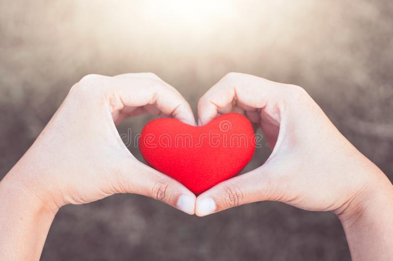 Woman holding red heart and make hand heart shape stock image