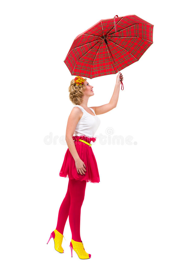 Woman Holding A Red Umbrella Royalty Free Stock Images