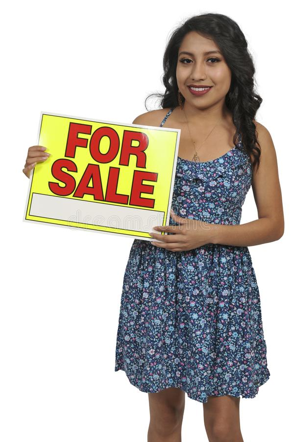 Woman holding for sale sign stock photos