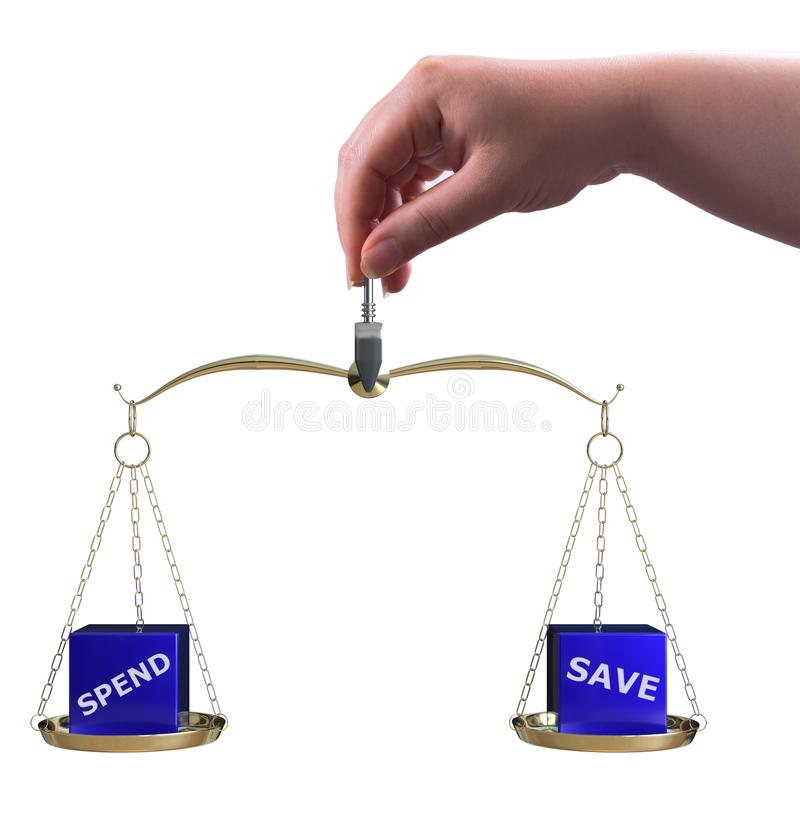 Spend and save balance. The woman holding scale with spend and save now balance concept stock illustration