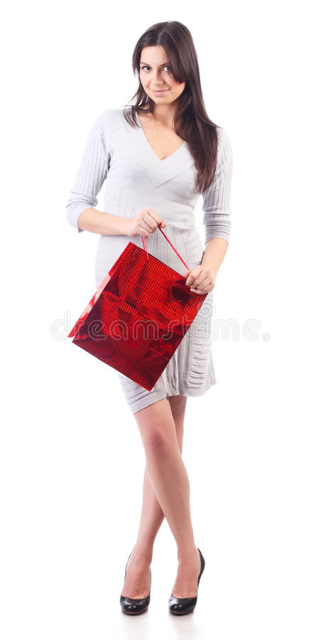 Download Woman Holding Shopping Red Bag. Isolated Stock Photo - Image: 19888706