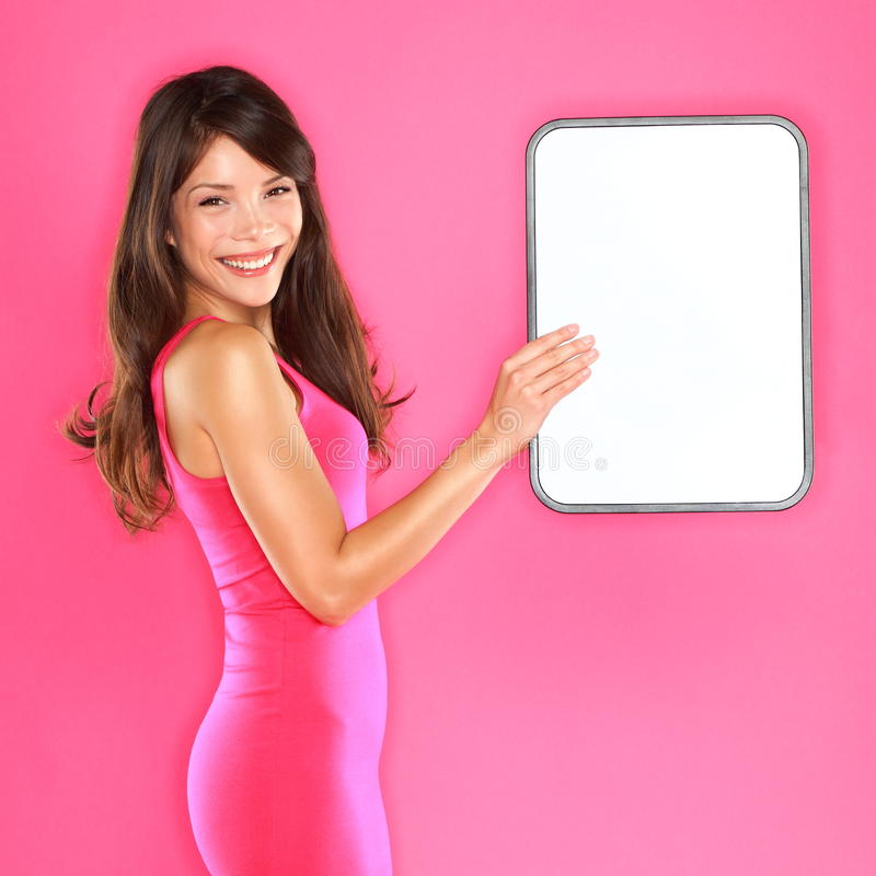 Download Woman holding showing sign stock image. Image of communication - 27130431