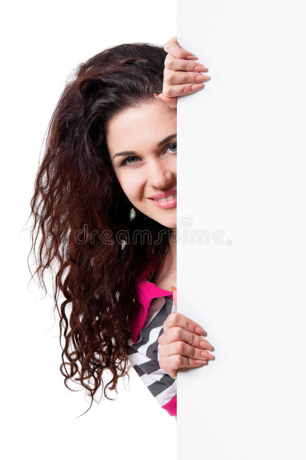 Woman holding signboard royalty free stock photos