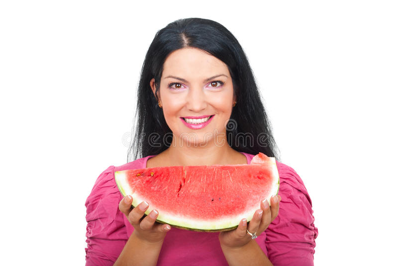 Woman Holding A Slice Of Watermelon Royalty Free Stock Photography
