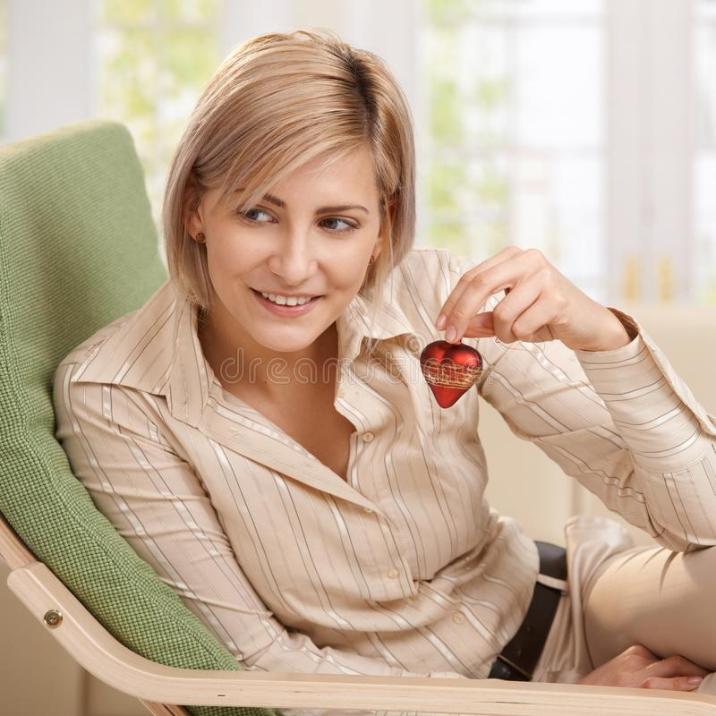 Download Woman Holding Small Red Heart Stock Photo - Image: 16276706