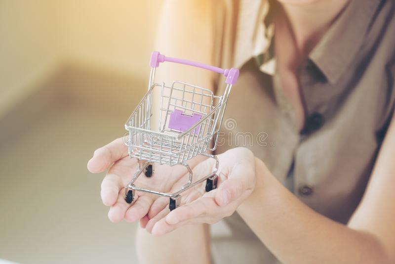 Woman holding a small shopping trolley royalty free stock photo