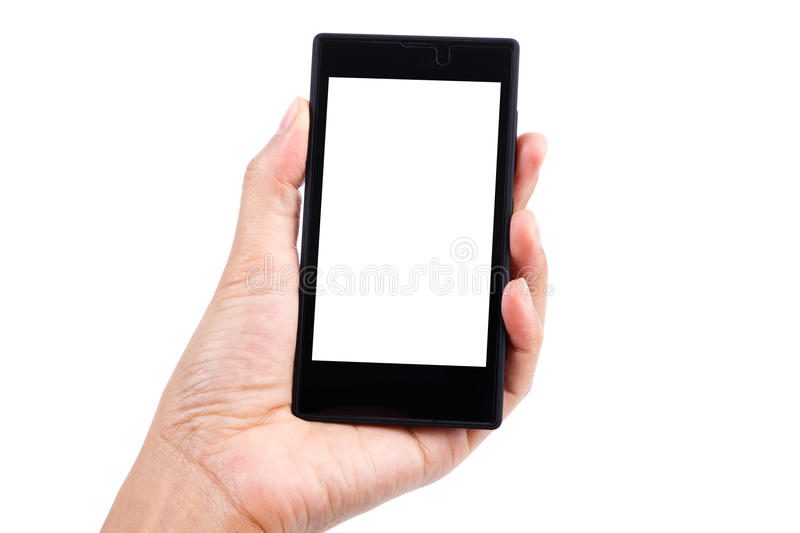 Woman holding smart phone stock photos