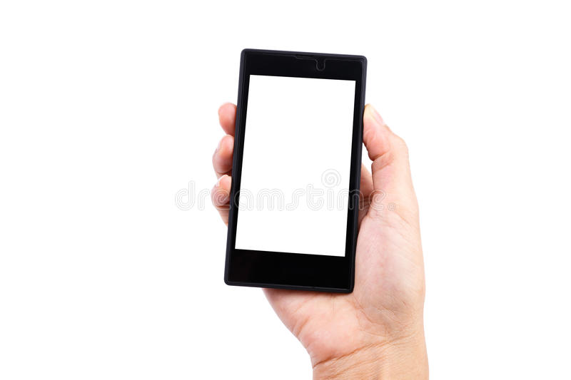 Woman holding smart phone royalty free stock photo