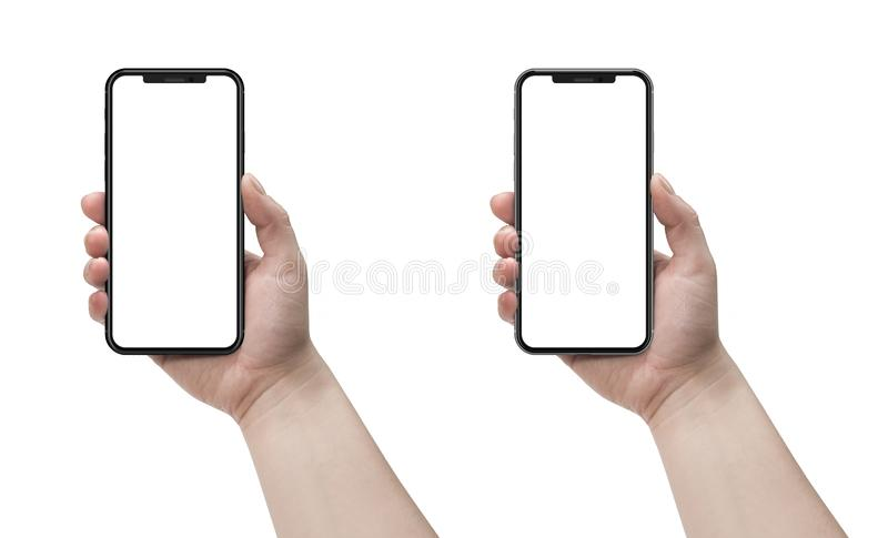 Woman holding smartphone with blank screen isolated on white background.. Woman holding smartphone with blank screen isolated on white background stock photo