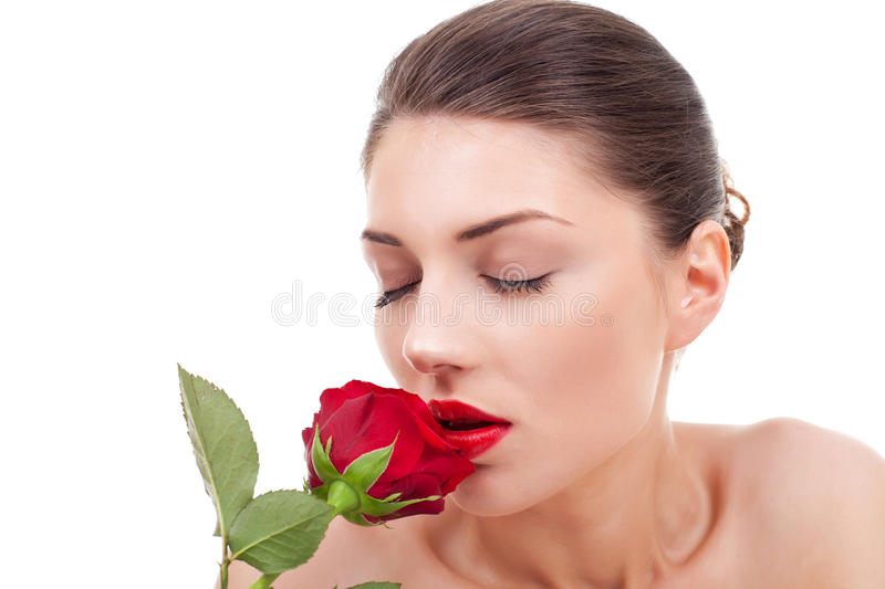 Download Woman Holding And Smelling Red Rose Stock Image - Image: 20881427