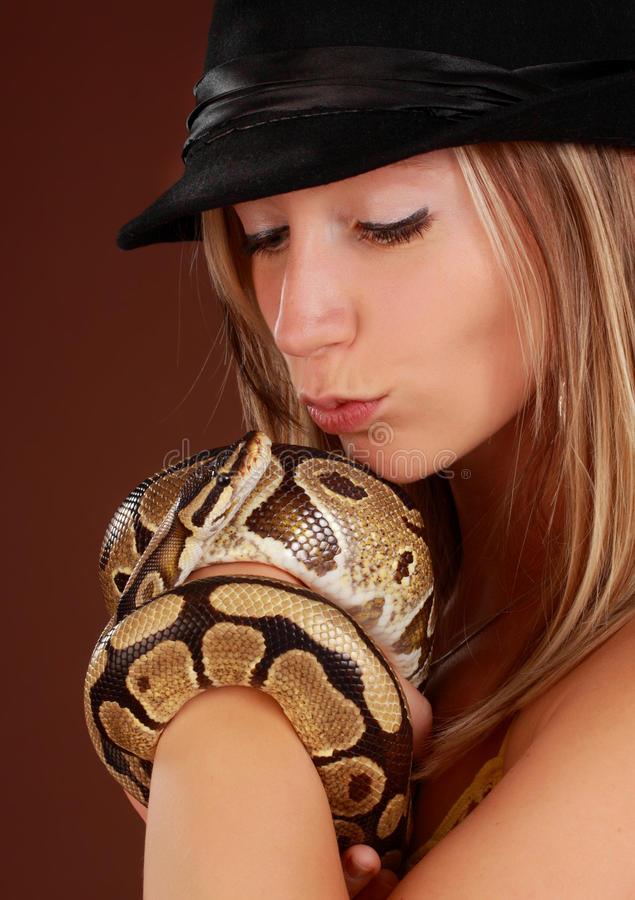 Download Woman holding a snake stock photo. Image of royal, blond - 15771606