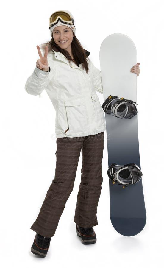 Woman Holding Snowboard on White stock photos